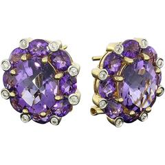 Amethyst Diamond Gold Stud Earrings