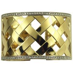 Wide Basket Weave Trellis Style Diamond Gold Hinged Bangle Bracelet