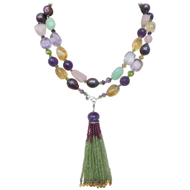 Well-known Multi-gemstone Long Lariat Necklace with Semi-precious Bead Tassel  IC02