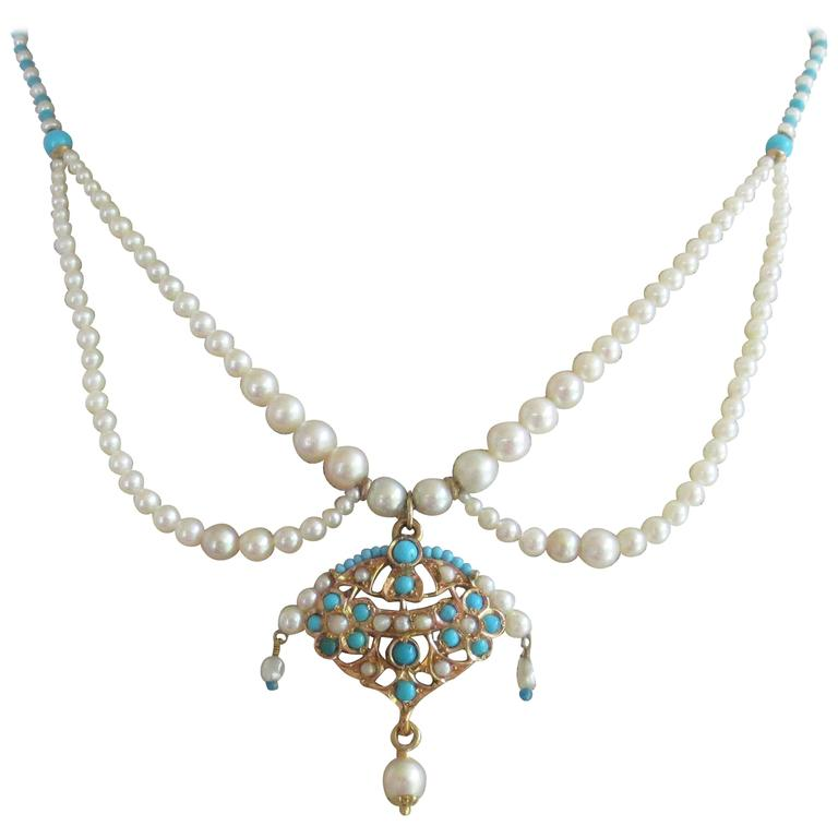 Graduated Pearl and Turquoise Bead Bridal Necklace with Gold Pendant