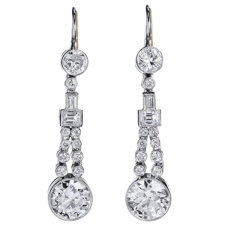 Diamond Gold Platinum Drop Earrings