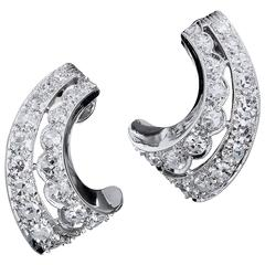 Crescent Shape Diamond Gold Platinum Earrings