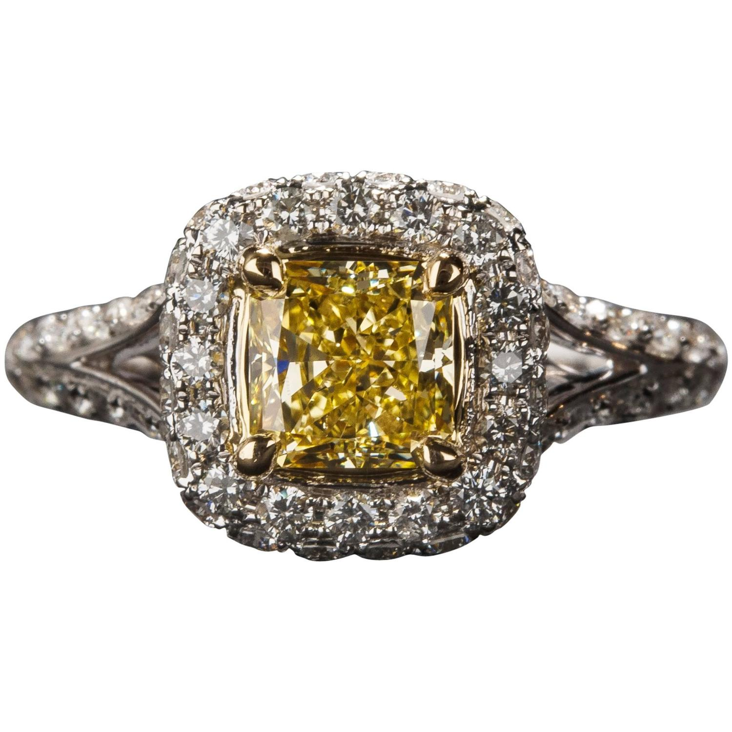 1 00ct Yellow Diamond Ring For Sale at 1stdibs