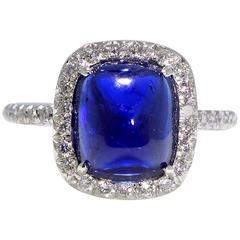 Sugarloaf Sapphire Diamond Gold Ring