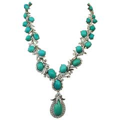 David Webb Turquoise & Diamond Platinum Necklace with detachable pendant/brooch