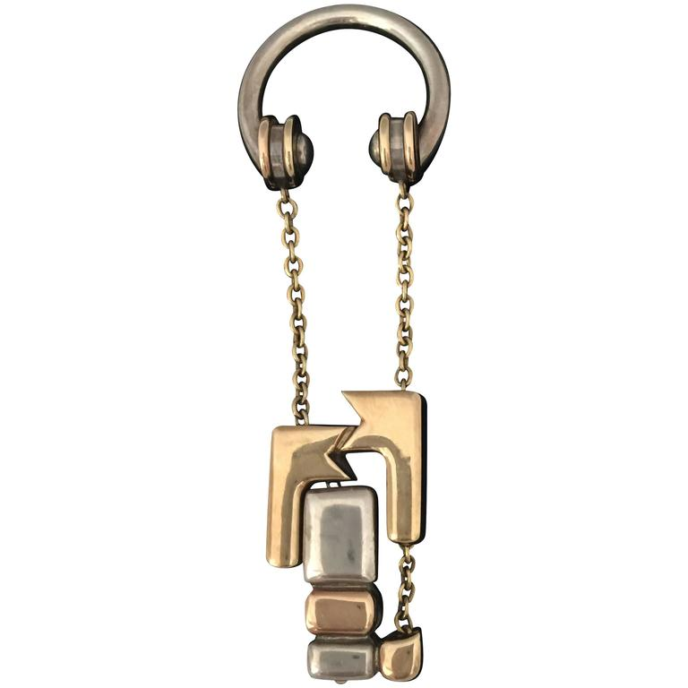 Cartier Rare Silver Gold Abstract Cubist Keyring 1
