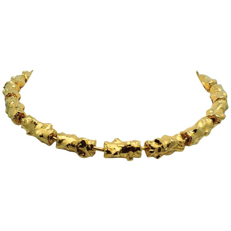 Jean Mahie Rare Textured Gold Link Necklace