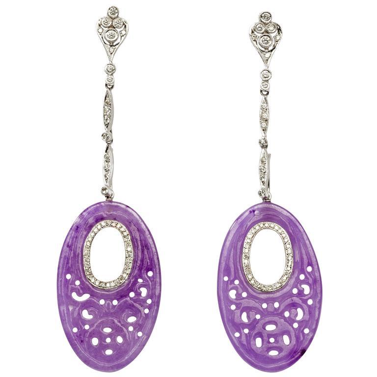 Carved Purple Jade White Gold Dangle Earrings