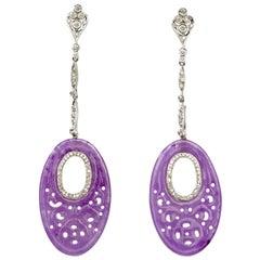 Pair of Jade Diamonds White Gold Dangle Earrings