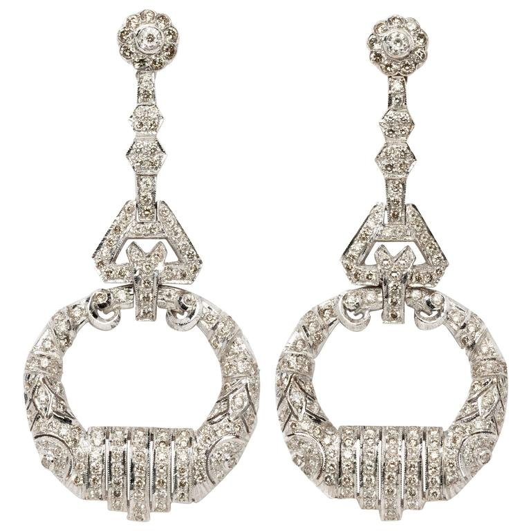 Exquisite Diamond White Gold Chandelier Earrings 1
