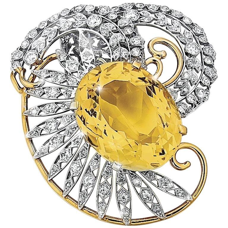 Seaman Schepps Citrine Diamond Gold Platinum Brooch