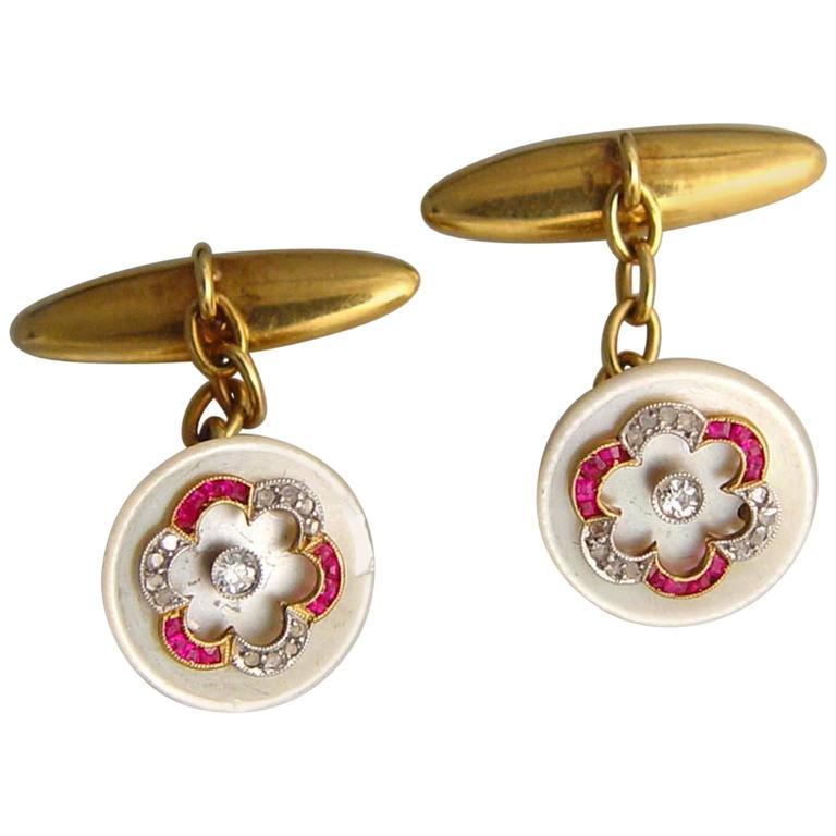 Mother-of-Pearl Ruby Diamond Gold Platinum Cufflinks