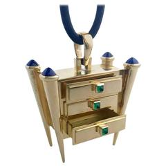 "Romain Saide Emerald Sapphire Gold ""Secrets"" Keepsake Pendant"