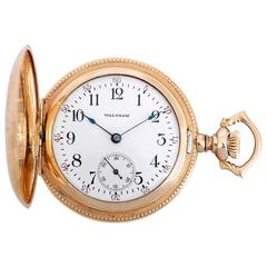 Waltham Lady's Ornately Engraved Gold Plated Hunting Case Pocket Pendant Watch