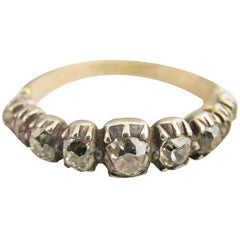 Antique Georgian Nine Stone 1/2 hoop Diamond Silver Gold Ring