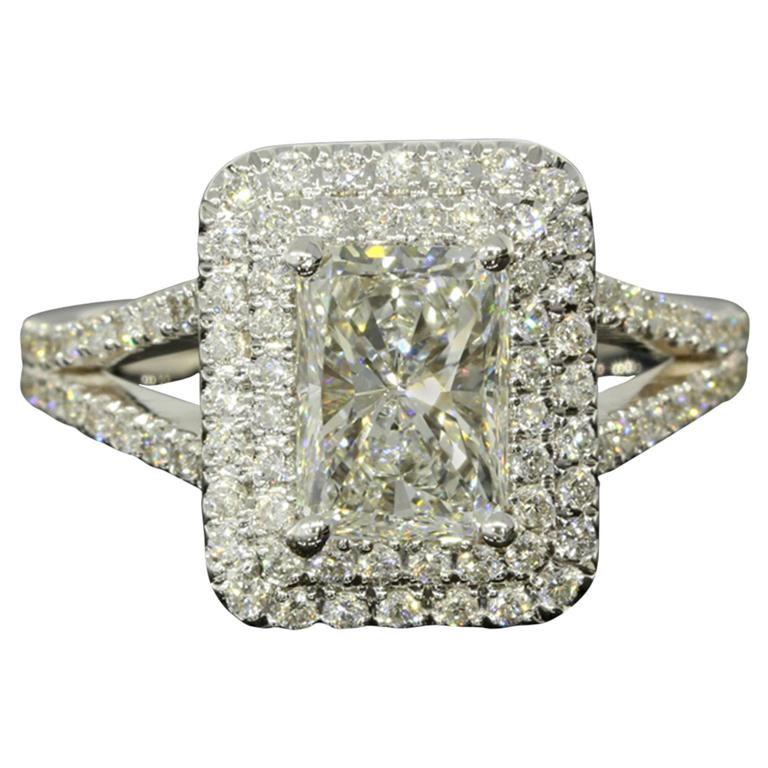 1.54 Carat GIA Cert Radiant Diamond Gold Double Halo Engagement Ring For Sale