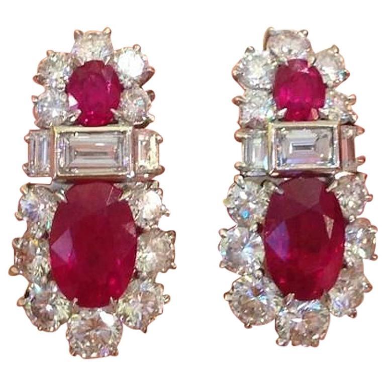 GIA Certified Burmese Ruby Diamond Platinum Earrings