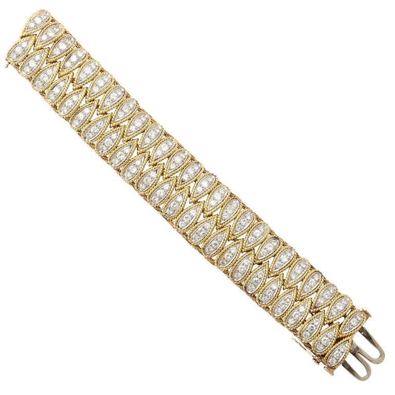 1950s Diamond Gold Bracelet