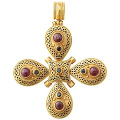 Medieval Style Enameled and Bejeweled Gold Cross Pendant