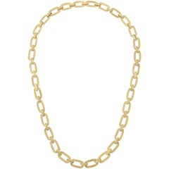 Gold Bar and Rope Chain Necklace of Variable Length