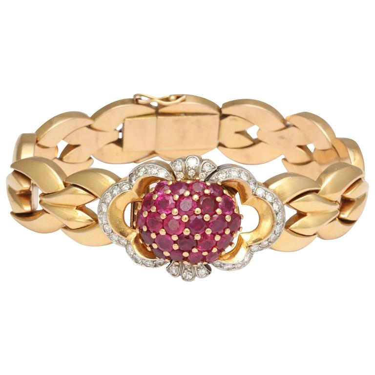 Tissot Lady's Yellow Gold Diamond Ruby Bracelet Wristwatch