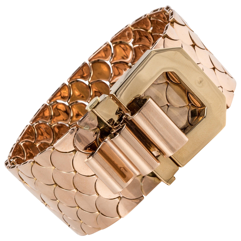1940s Retro French Gold Buckle Bracelet