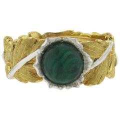 Buccellati Gold Malachite Leaf Motif Band Ring
