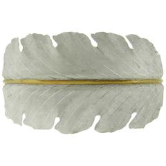 Buccellati Impressive Sterling Silver Gold Wide Leaf Motif Cuff Bracelet