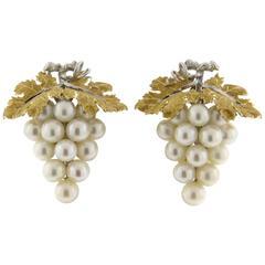 Buccellati Pearl Gold Grape Vine Earrings