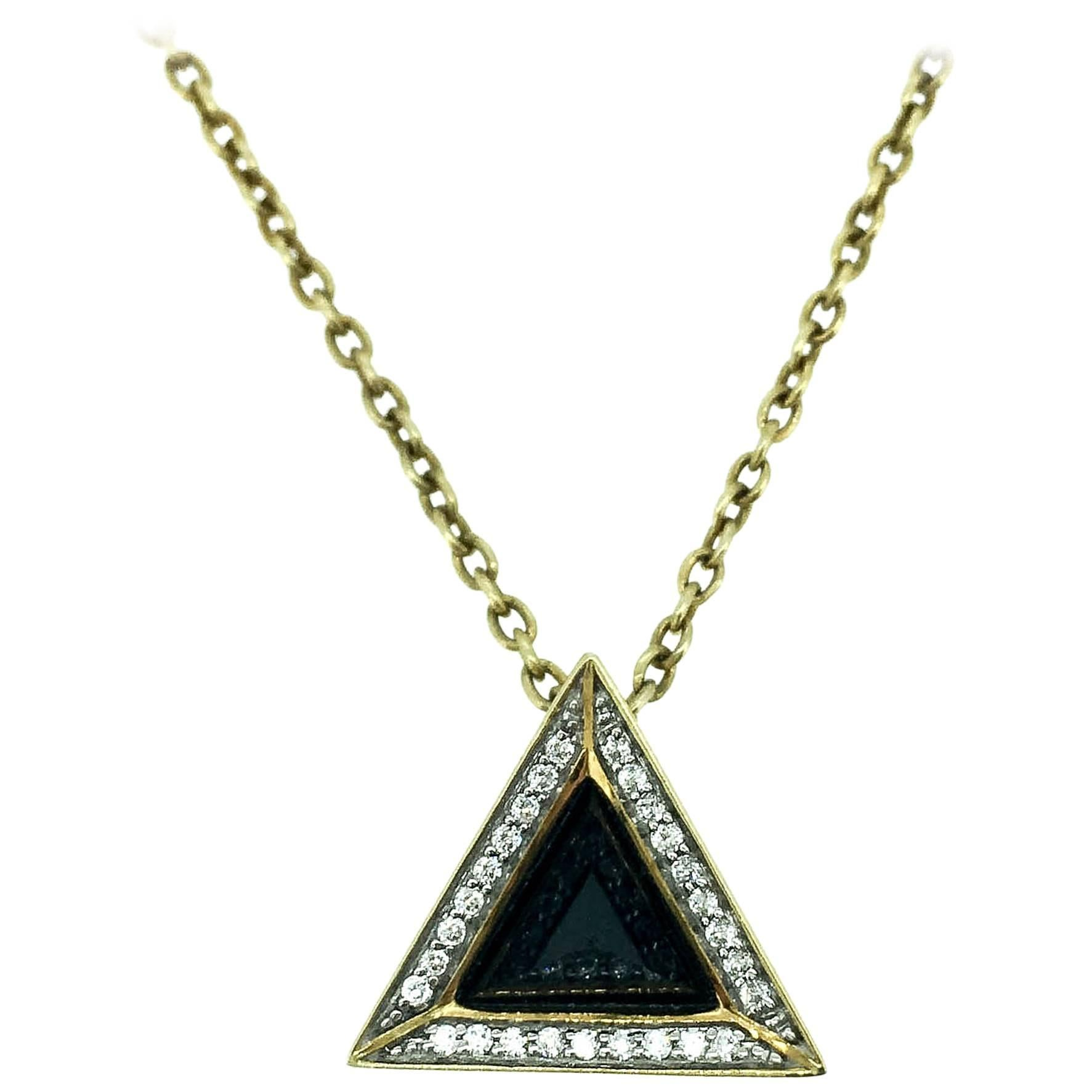 Sapphire Diamond and 18K Gold Black Pyramid Necklace
