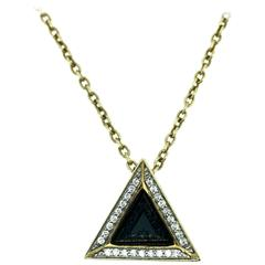 Sapphire Diamond Gold Black Pyramid Necklace
