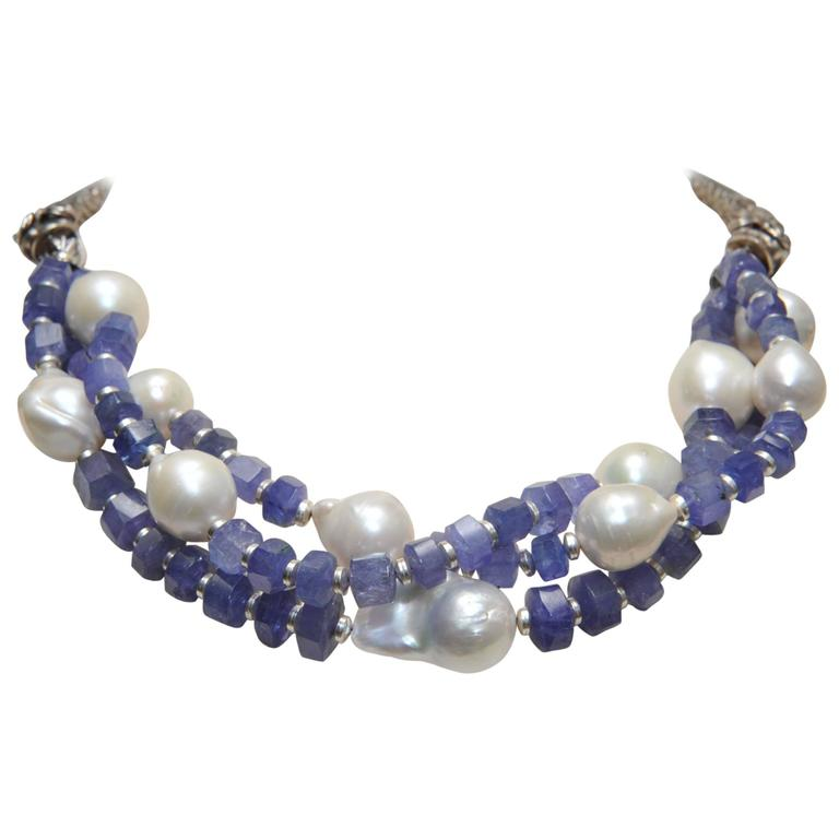 Triple Strands Necklace of Tanzanite, Baroque Pearl and Sterling Dragons