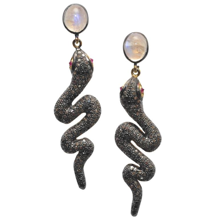 Rose Quartz and Pave` Diamond Snake Earrings with Ruby Eyes 1