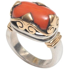 Coral Ring in 18 Karat Gold and Sterling Silver