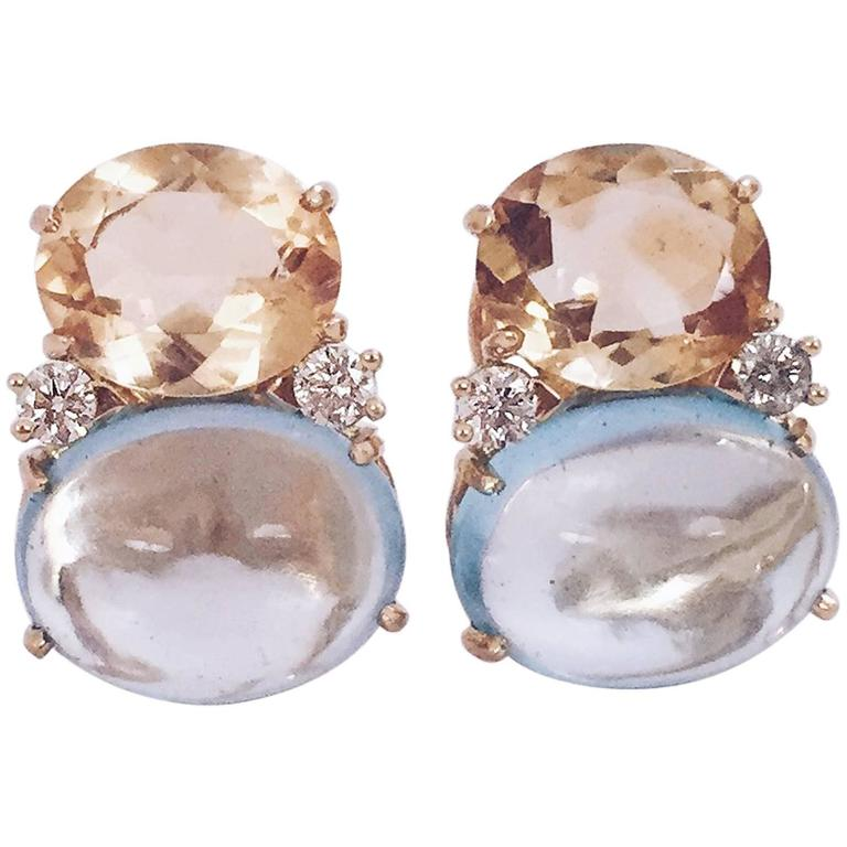 Large GUM DROP™ Earrings with Citrine and Cabochon Blue Topaz and Diamonds For Sale