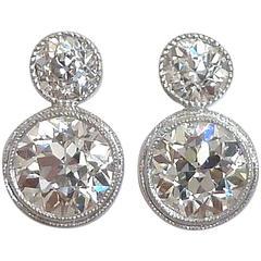 Handmade 2.10 Carat Bezel Set Old European Cut Diamonds Platinum Stud Earrings