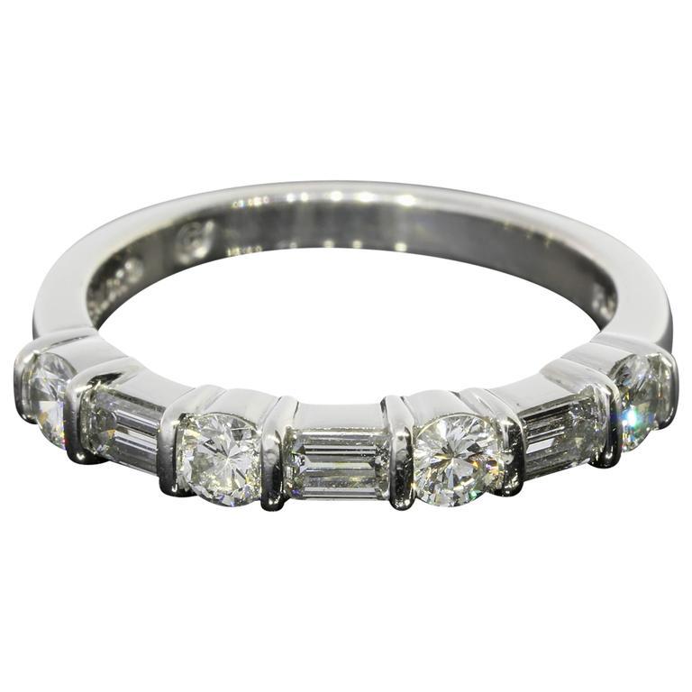 90 Carats Round and Emerald Cut Diamonds Platinum Bar Set Wedding