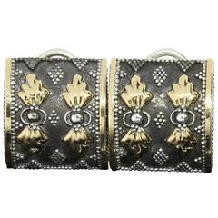 Rare Retired John Hardy Silver Gold Leaf and Dot Clip-On Earrings