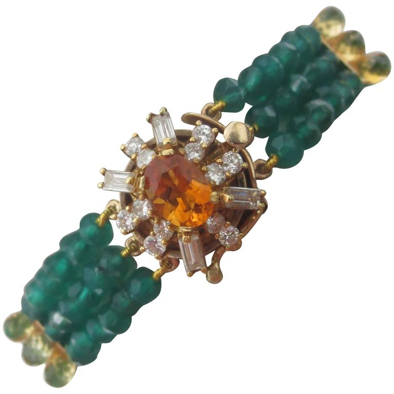 Diamonds, Citrine and 14 Karat Gold Clasp with Faceted Green Onyx Beads Bracelet For Sale