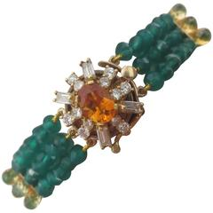 Diamonds, Citrine and 14 Karat Gold Clasp with Faceted Green Onyx Beads Bracelet