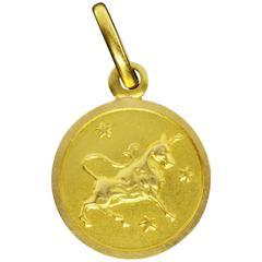 Gold Taurus Zodiac Bull Matte Pendant Charm