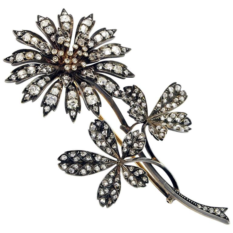 Antique Large En Tremblant Diamond Gold Brooch