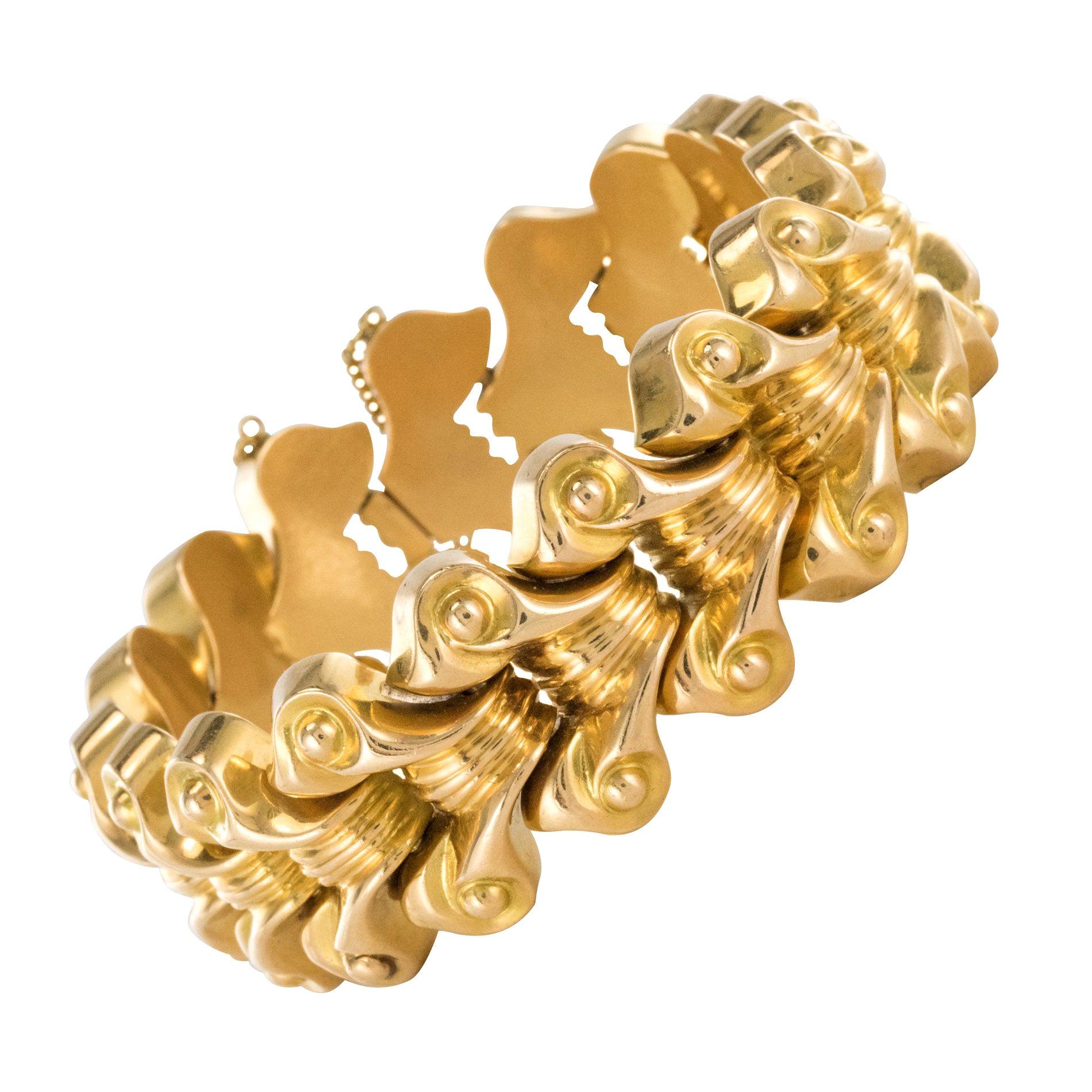 French 1940s Gold Tank Bracelet