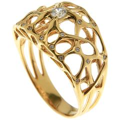 John Brevard Web Diamond Gold Ring