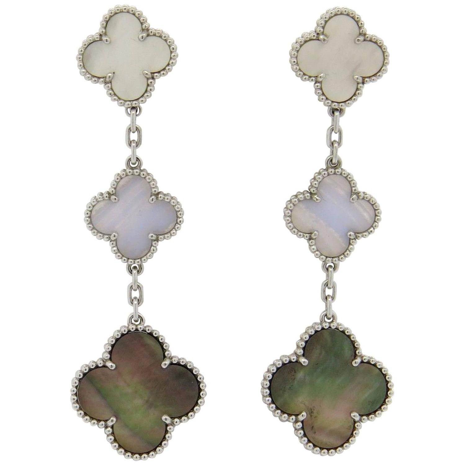 Van Cleef And Arpels Magic Alhambra Mother Of Pearl Chalcedony Gold Earrings At 1stdibs