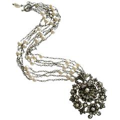 Austro Hungarian Seed Pearl Shell Necklace