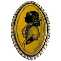 Antique Pearl and Verre Eglomisé  Portrait Ring