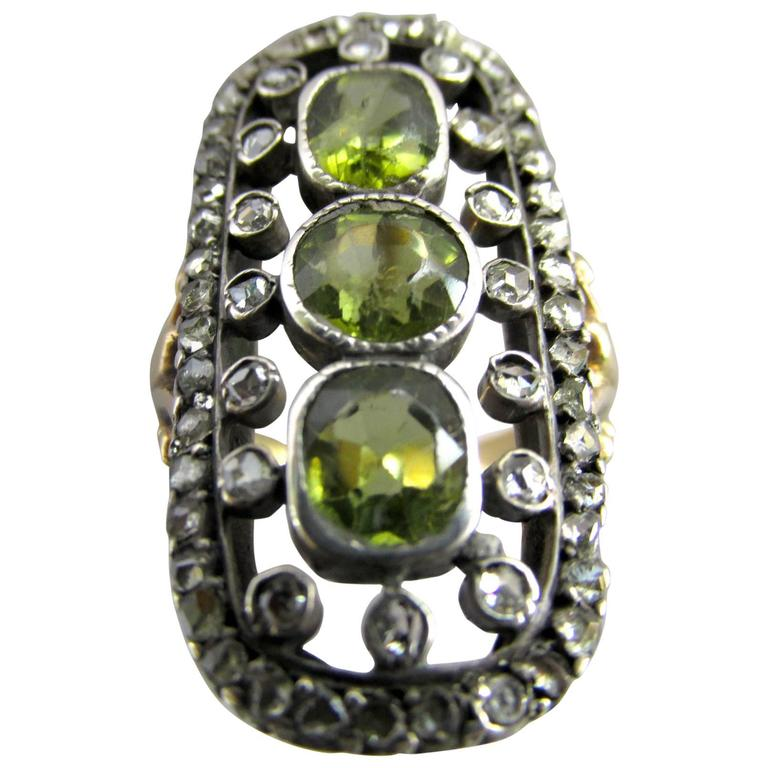 Antique Peridot Rose Diamond Silver Gold Ring