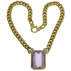 Large Amethyst Diamond Gold Necklace