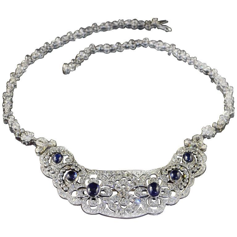 1920s Sapphire Diamond Bib Necklace